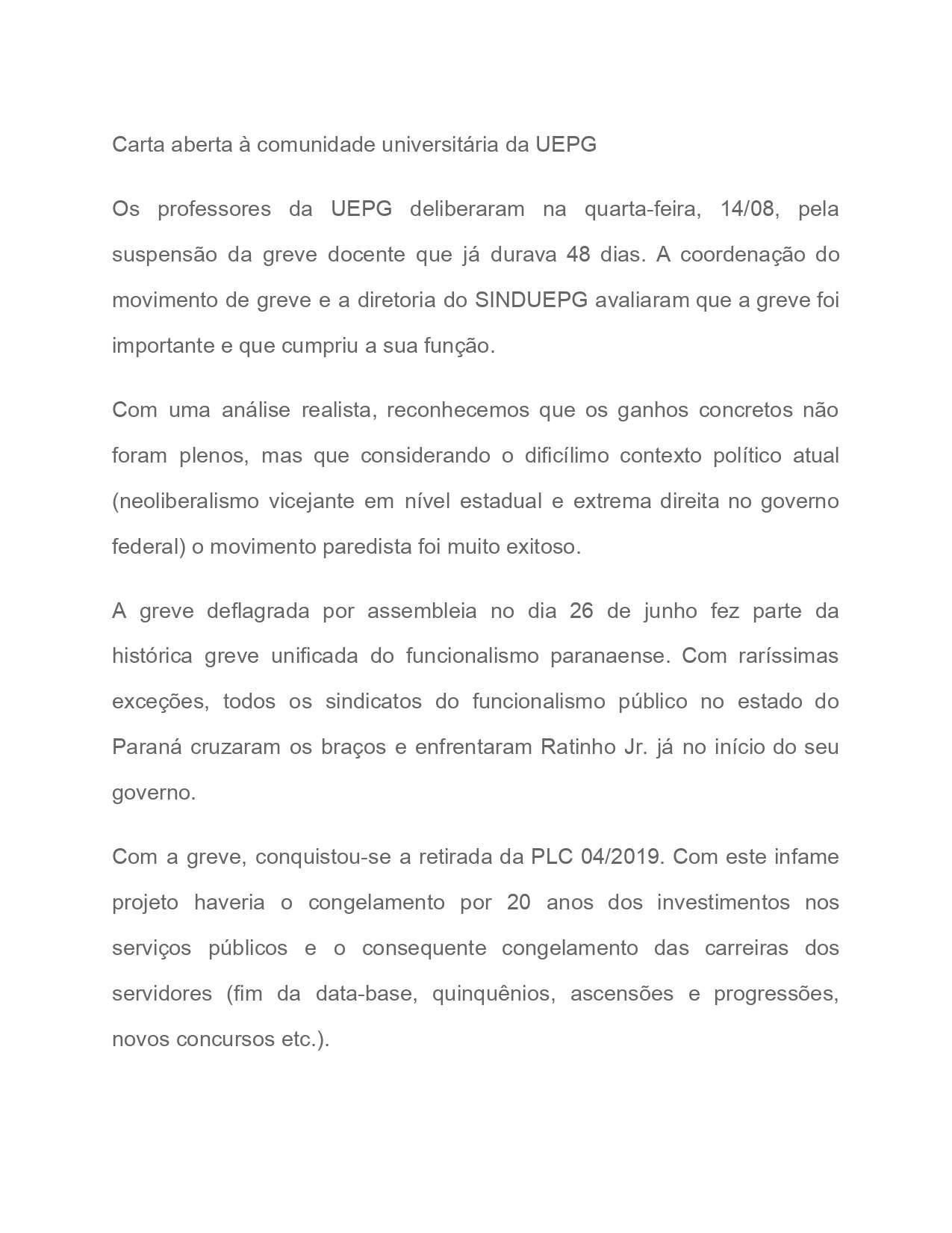 CARTA ABERTA À COMUNIDADE UNIVERSITÁRIA DA UEPG